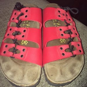 Birkenstock Papillio Red Leather Sandals Size 10